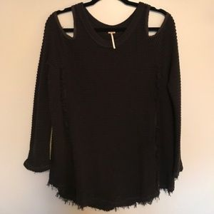 Free People Sweaters - Free People Cold Shoulder Black Sweater